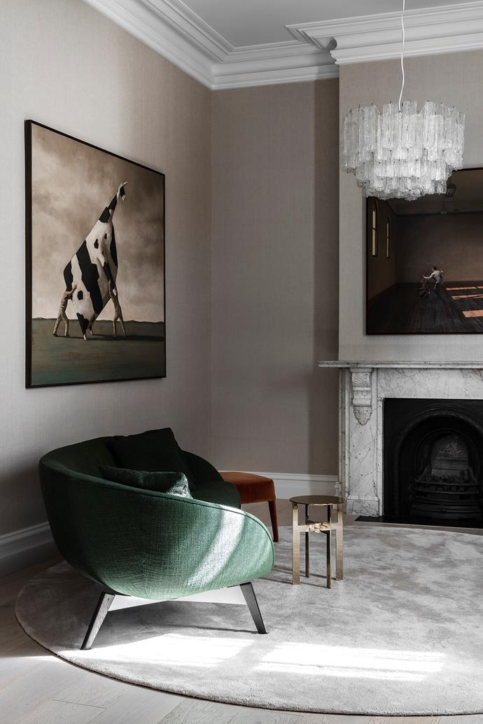 The artwork on the facing wall, *Two Men Lifting a Cow* by John Kelly, was positioned to pick up the green in the Minotti 'Russell' sofa by Rodolfo Dordoni from De De Ce. *Great expectations* artwork by Ron Francis.