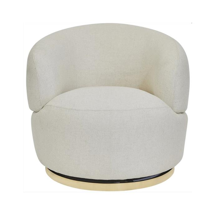 """**[Bobby swivel chair, $1689, Interiors Online](https://interiorsonline.com.au/products/bobby-swivel-chair-natural