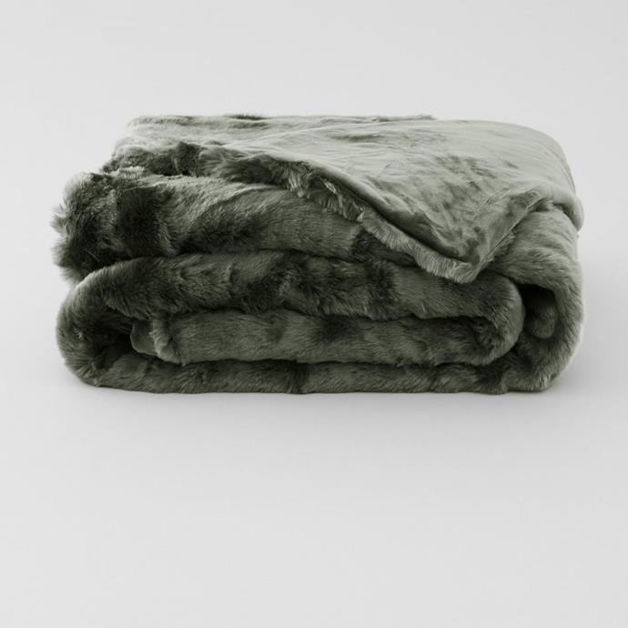 """Dalmar Faux Fur Throw, $349.95, [Sheridan](https://www.sheridan.com.au/dalmar-faux-fur-throw-si22-b113-c236-843-ivy.html