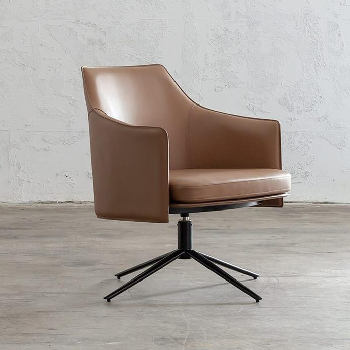 """**[Bolina swivel armchair, $699, Living by Design](https://livingbydesign.net.au/products/bolina-mid-century-vegan-leather-swivel-arm-chair-saddle-tan?variant=31337655861361&currency=AUD