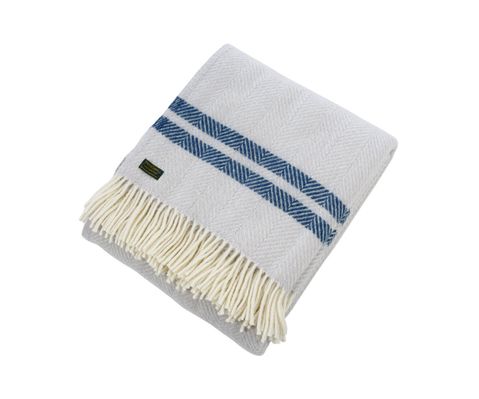 """Tweedmill Pure New Wool Fishbone 2 Stripe Throw - Glacier & Ink, $135, [Amara](https://www.amara.com/au/products/pure-new-wool-fishbone-2-stripe-throw-glacier-ink