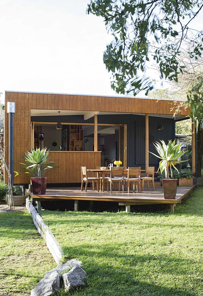 """In the update of this [tired weatherboard cottage](https://www.homestolove.com.au/timber-clad-sustainable-house-17545