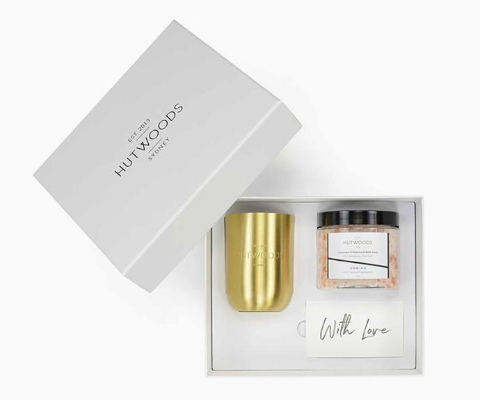 """**Luxury Candle and Bath Soak Gift Box, $94.95, [Hutwoods](https://www.hutwoods.com.au/collections/gifts/products/luxury-candle-bath-soak-gift-box