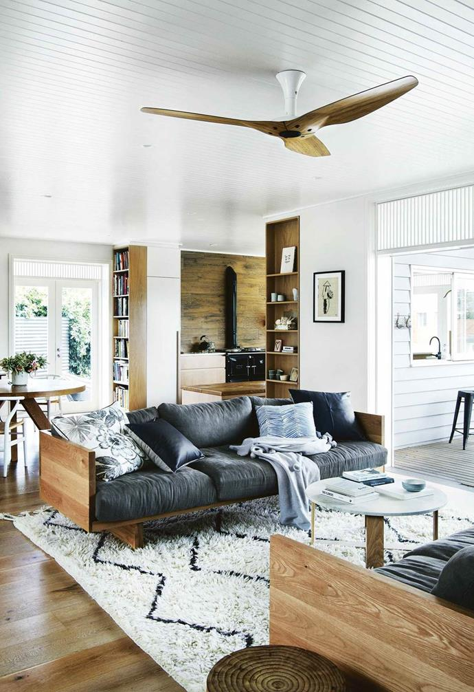 A striking Morroccan-style berber rug is the finishing touch to this cosy living space.