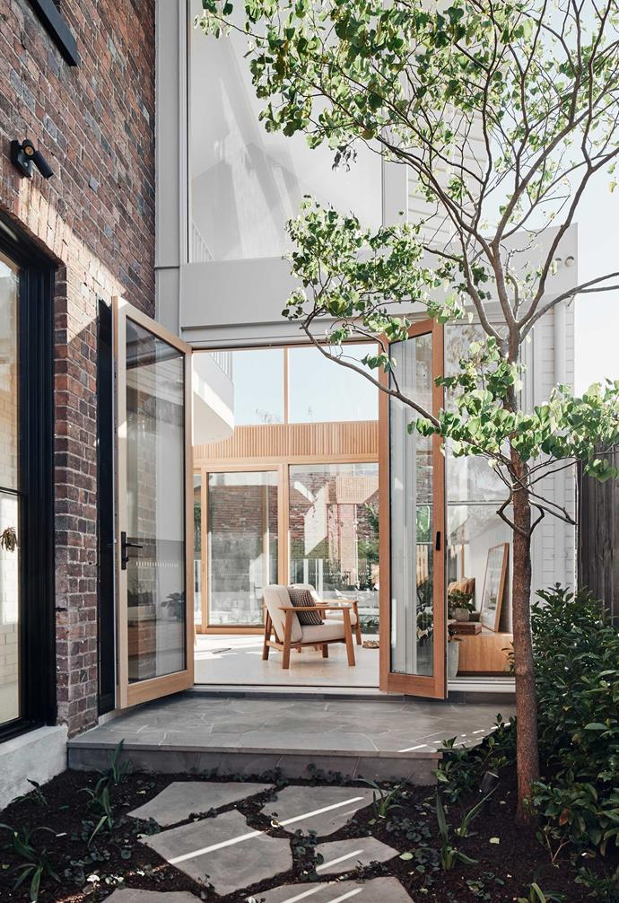"The [sun-filled modern extension of this terrace](https://www.homestolove.com.au/modern-terrace-extension-melbourne-22221|target=""_blank"") takes design cues from Japandi style, as seen by its emphasis on raw textures and materials."