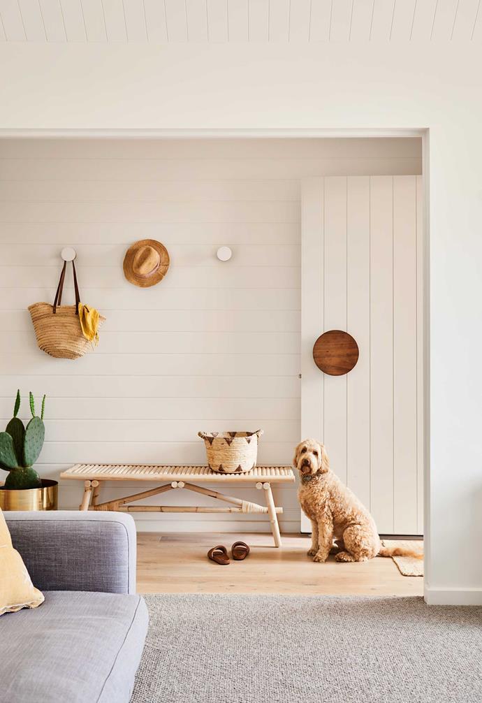 "**Entrance** A handy [Ikea](https://www.ikea.com/au/en/|target=""_blank""|rel=""nofollow"") bench — and Clive — near the door. Carpet, [Solomons Flooring](https://www.solomons.com.au/|target=""_blank""|rel=""nofollow""). Gold pot, [Cactus Designs Indoor Plants](https://cactusdesignsplants.com.au/|target=""_blank""|rel=""nofollow"")."