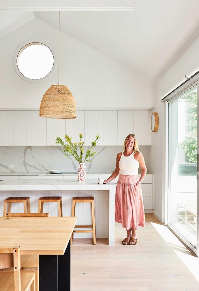"""**Kitchen** """"Make design decisions based on your lifestyle,"""" advises Briony, whose open-plan kitchen has easy access to a north-facing deck and pool. The stools were made by Nat Starr, a friend of Briony's."""