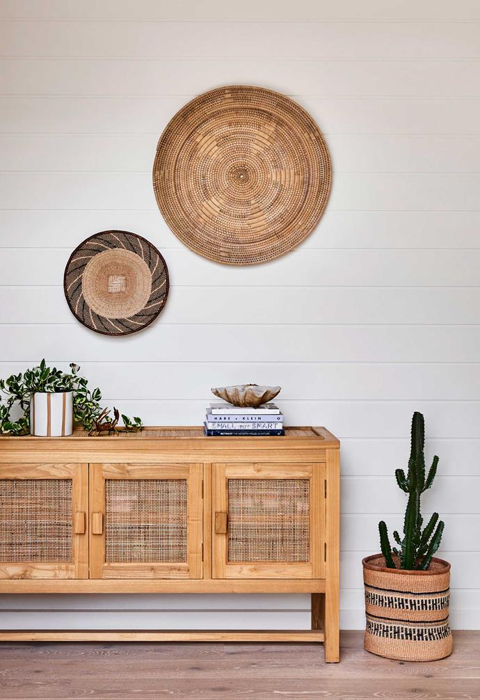 """**Hallway** Texture comes to the fore in the rattan side table from [Black Salt Co](https://www.blacksaltco.com/