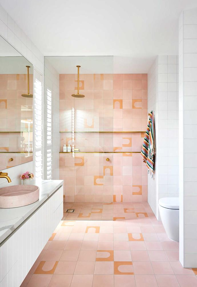 "**Ensuite** Playful Bungalow encaustic tiles by [Tile Cloud](https://tilecloud.com.au/|target=""_blank""|rel=""nofollow"") gave Briony just the right amount of pink in her bathroom. Vanity top, Borghini Naturale quartz by [Smartstone](https://www.smartstone.com.au/|target=""_blank""|rel=""nofollow"")."