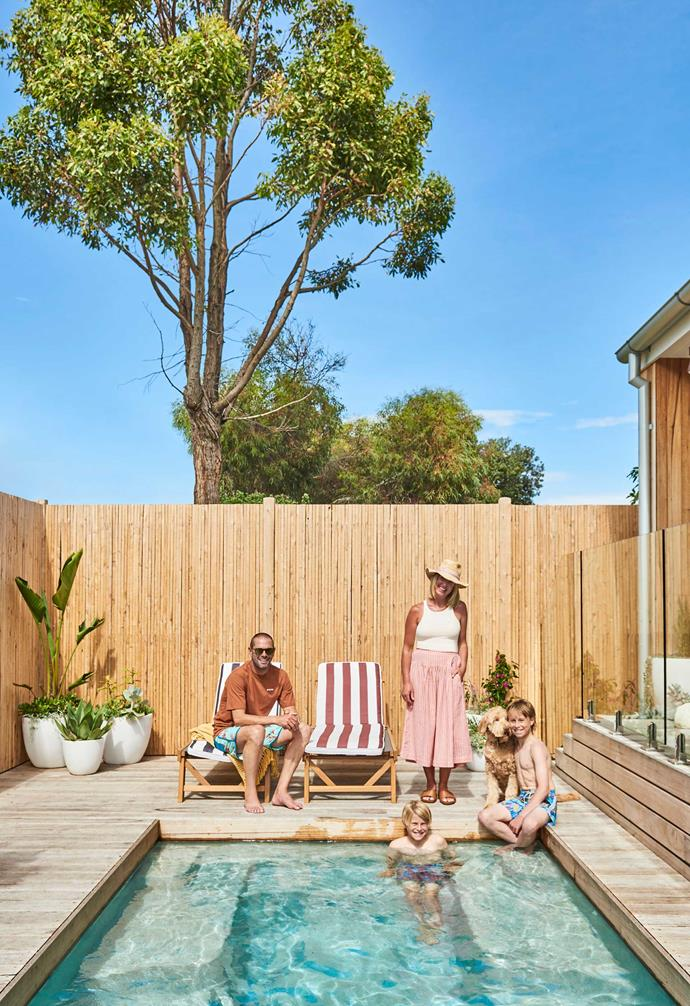 """**Pool area** The whole family chilling out around the pool, which was installed by Geelong-based company [Gordon Ave Pools & Spas](https://www.gordonave.com.au/