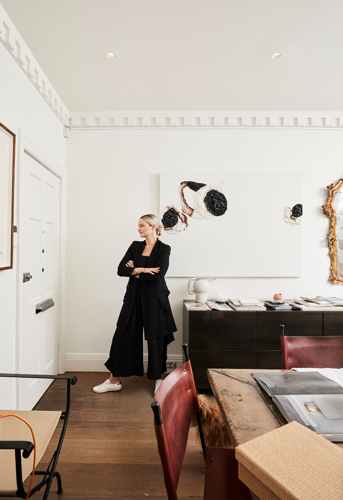 """While taking cues from the local landscape and lifestyle, Phoebe (pictured at her office) says being an antique dealer means she also drifts towards older pieces and European design. The fusion of influences """"makes you appreciate both""""."""