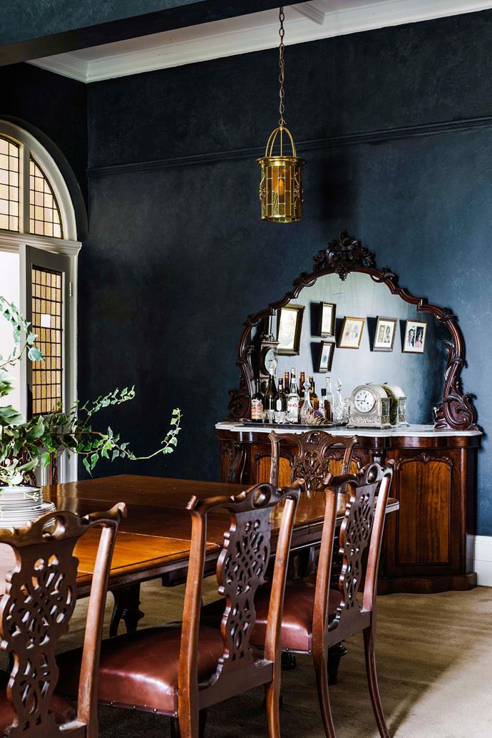 The bold dark dining room.