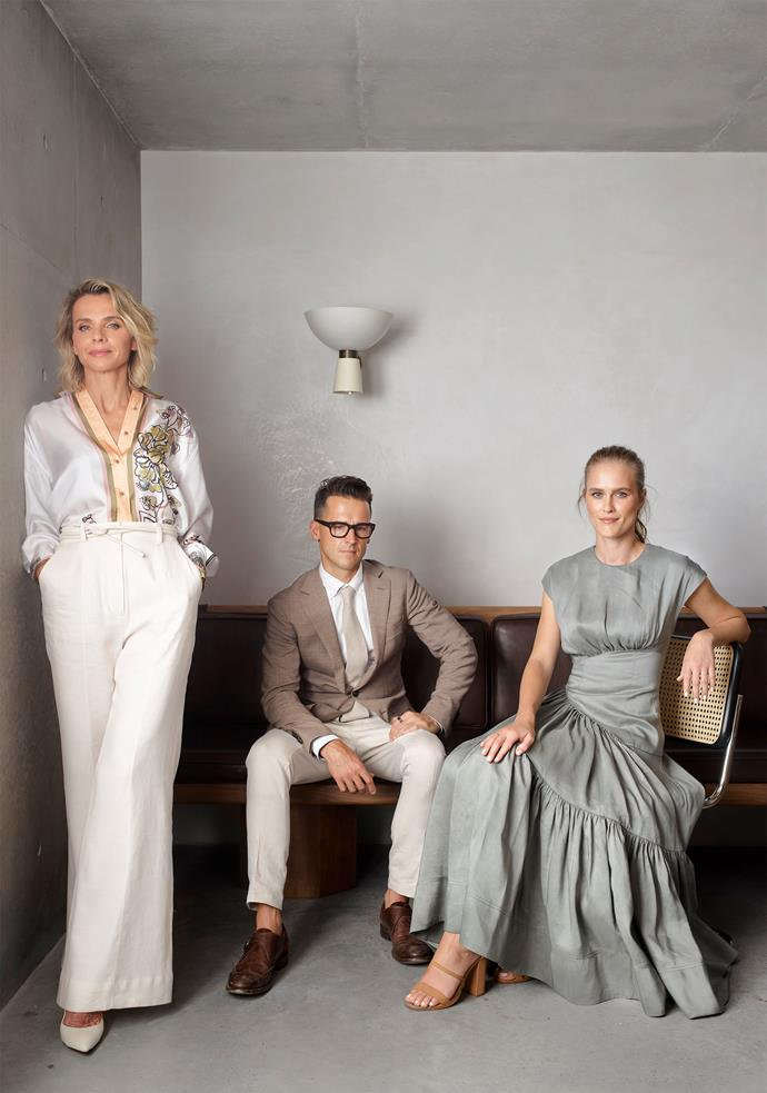 """I would describe our work as an exploration of 'storytelling through scale and detail',"" says Jeremy, with Alexander & Co marketing director Tess Glasson (left, also his wife) and senior designer Shelby Griffiths. ""Creativity lies in the juiciness of storytelling and memories; it is a river of make-believe."""
