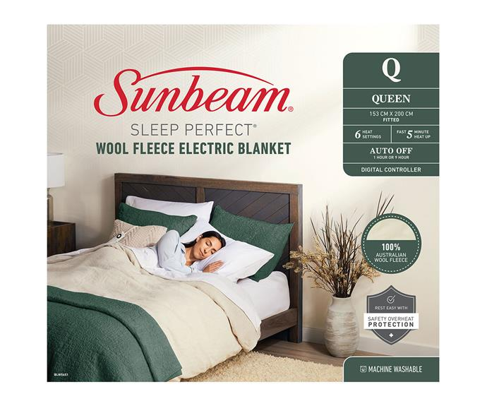 """**[Sunbeam Sleep Perfect wool fleece heated blanket BLW5651, $320 (Queen Size), Appliances Online](https://www.appliancesonline.com.au/product/sunbeam-sleep-perfect-queen-bed-wool-fleece-heated-blanket-blw5651