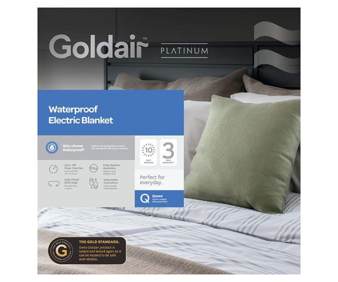 """**[Waterproof electric blanket by Goldair, on sale at $149.99 (Queen size), Harris Scarfe](https://www.harrisscarfe.com.au/Categories/Bed%09Bath-%26-Home-Decor/Bedding/Electric-Blankets/GOLDAIR-Waterproof-Electric-Blanket-Queen-Bed%0A/BP_619052