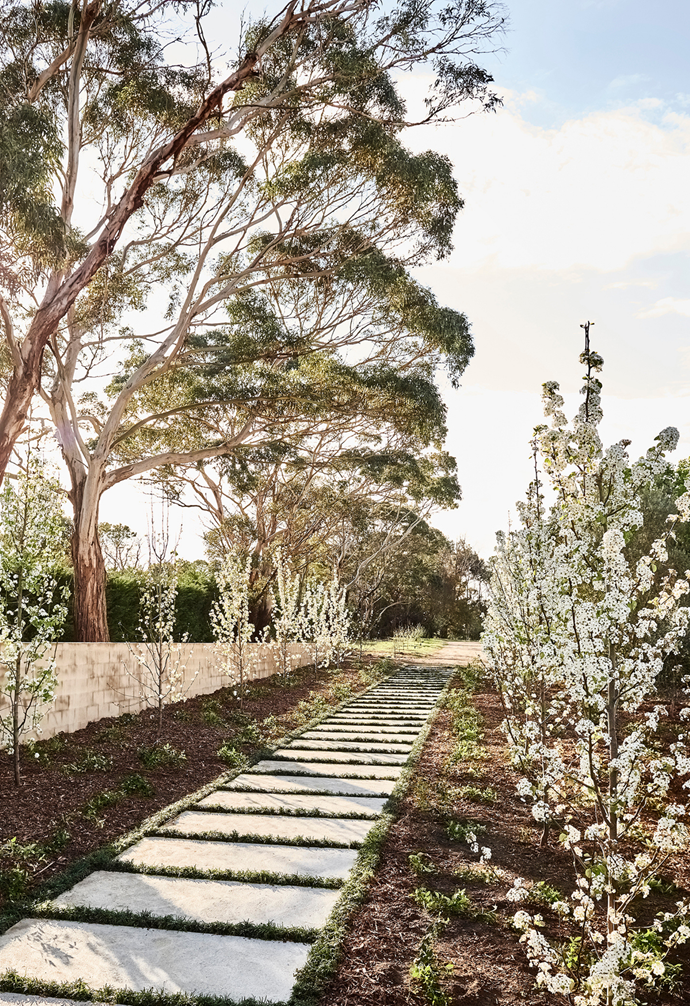 A perfectly paved path is an elegant feature in the surrounding garden.