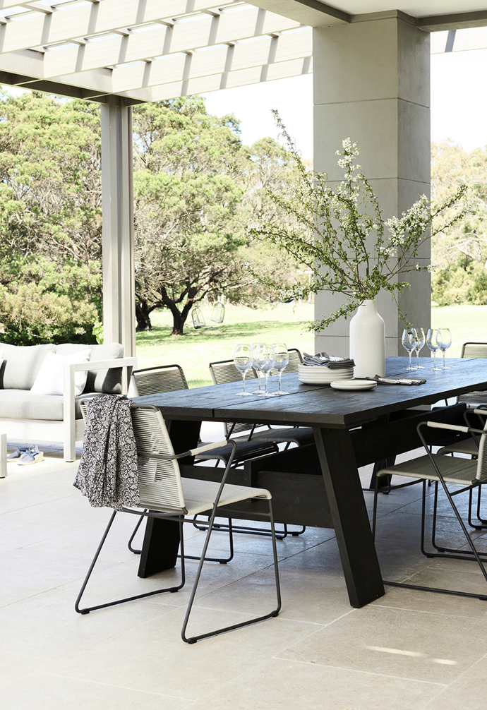 The 'Marina' dining table and 'Marina Sleigh' armchairs by Globe West.