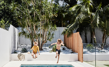 A Mediterranean-style swimming pool on Sydney's Northern Beaches