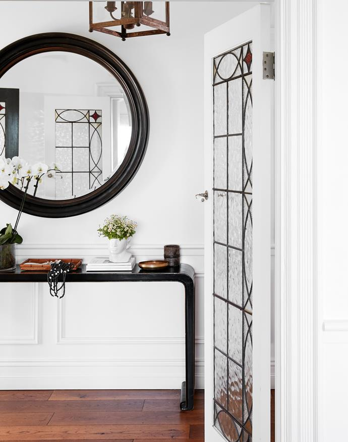 """The wainscoting in [this Century old sandstone home](https://www.homestolove.com.au/redecorated-sandstone-house-mosman-22442