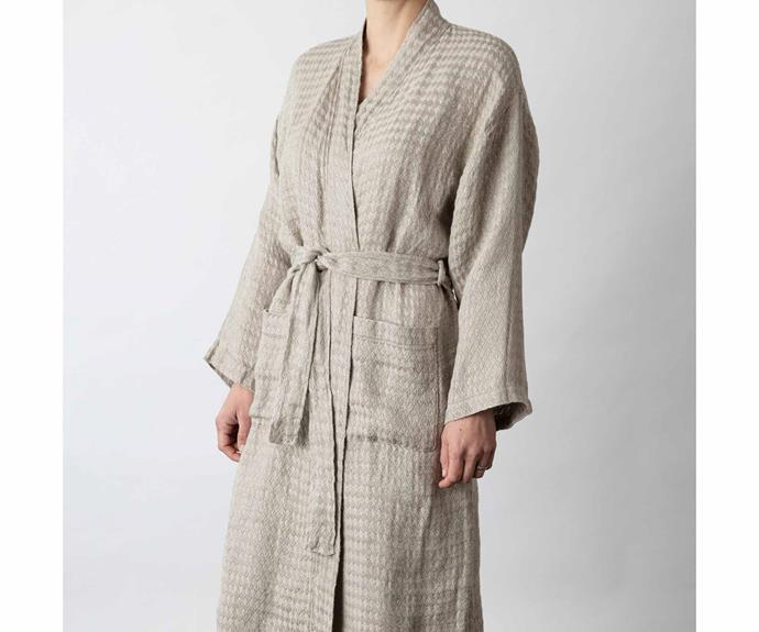 """**Linen Waffle Robe in Natural, $160, [Cultiver](https://cultiver.com.au/products/linen-waffle-robe-natural