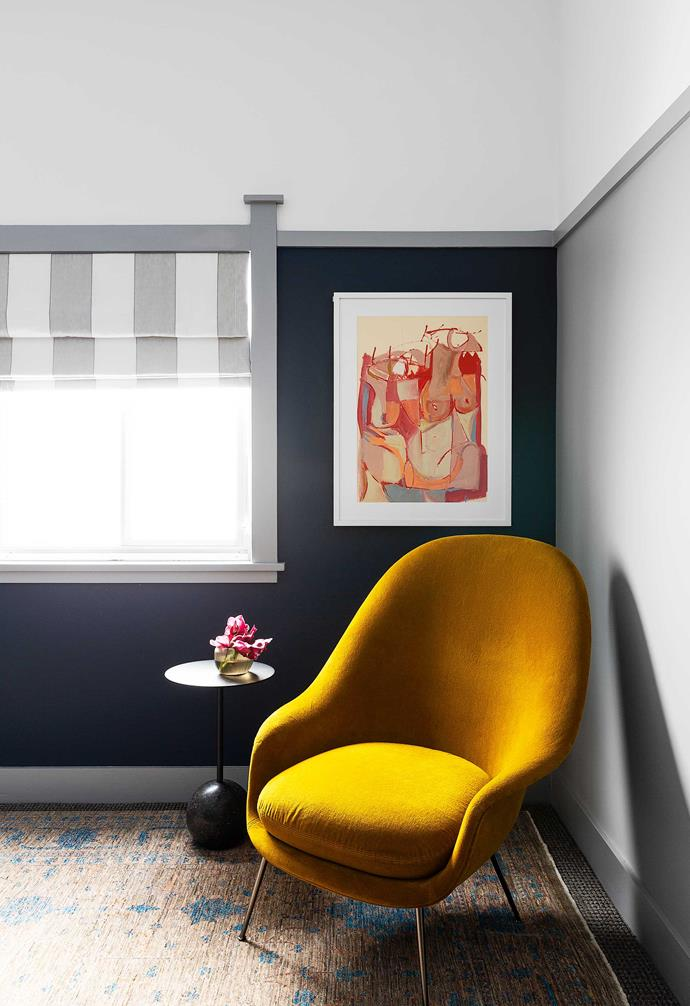 """**Bedroom** A quiet corner with a chair from [Cult](https://cultdesign.com.au/