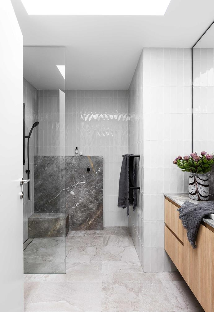 """**Ensuite** All the home's wet areas have the same materials, and there's a custom shaving cabinet here. Wall and floor tiles, [Kalafrana Ceramics](http://www.kalafranaceramics.com.au/
