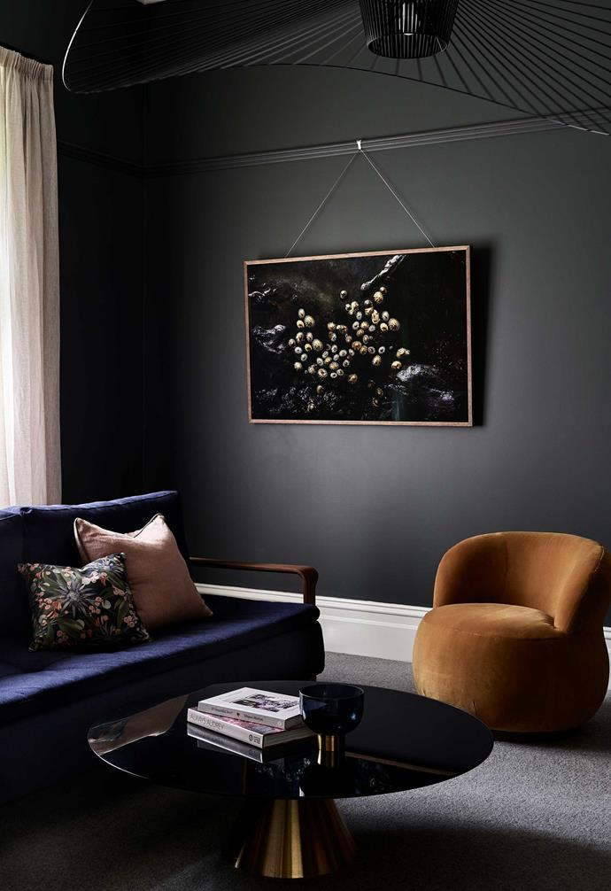 Melbourne design firm One Girl Interiors added colour, texture and shape to this Edwardian home and its previously beige interiors. Now the sitting room is snug, warm and full of talking points.