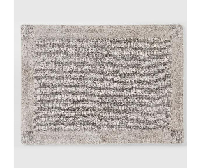 """**[Larken bath mat, $41.97, Sheridan](https://www.sheridan.com.au/larken-bath-mat-s2b6-b114-c246-508-cloud-grey.html target=""""_blank"""" rel=""""nofollow"""")**<br> For those who like to stick to neutral tones in their bathrooms opt for Sheridan's Larken bath mat. Crafted in a double-sided deep pile in luxurious 100% cotton this classic look design combines subtle loop textures in a tailored self-pattern frame giving it fantastic absorbency. *Afterpay available*"""