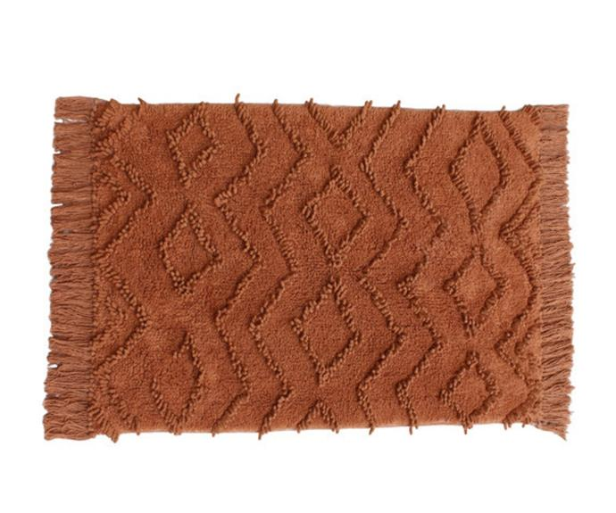 """**[Avalon cotton bath mat, $39.95, Temple & Webster](https://www.templeandwebster.com.au/Avalon-Cotton-Bath-Mat-TMPL2061.html target=""""_blank"""" rel=""""nofollow"""")**<br> This delightful burnt orange bath mat will add a Moroccan-style touch and a subtle pop of colour to your space."""