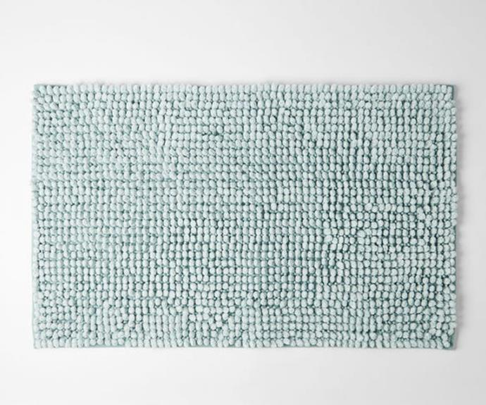 """**[Morgan & Finch 'Bobble Melange' bath mat, $24.95, Bed Bath N' Table](https://www.bedbathntable.com.au/bath/bath-mats/bobble-melange-cloud-blue-110102 target=""""_blank"""" rel=""""nofollow"""")**<br> Add a bit of texture to your bathroom with this thick and plush mat. This design features an anti-skid resistant base for added safety on slipper floors. Choose from a variety of pastel shades including pink and grey or opt for the cloud blue hue for a fresh look."""