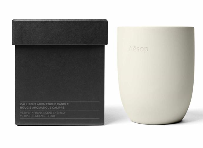 "**Aganice Aromatique Candle, $135, [Aesop](https://www.aesop.com/au/p/home/home-formulations/aganice-aromatique-candle/|target=""_blank""