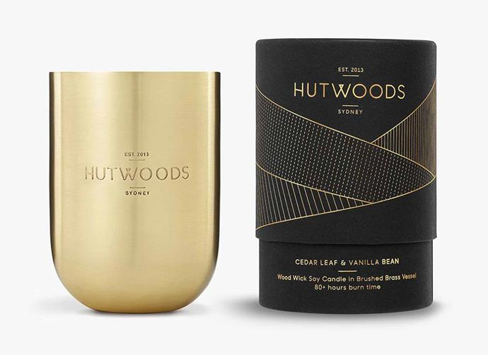 "**Cedar Leaf & Vanilla Bean Brushed Brass Vessel, $69.95, [Hutwoods](https://www.hutwoods.com.au/collections/luxury-range/products/cedarleaf-vanilla-bean-brushed-brass-vessel|target=""_blank""