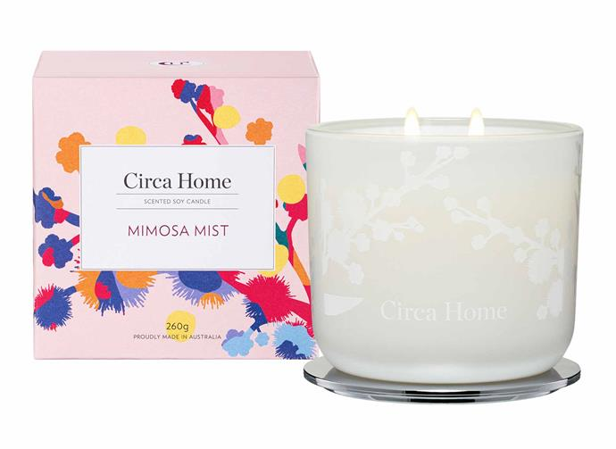 "**Mimosa Mist Classic Soy Candle, $39.95, [Circa Home](https://circahome.com.au/collections/scented-soy-candles/products/mimosa-mist-classic-soy-candle|target=""_blank""