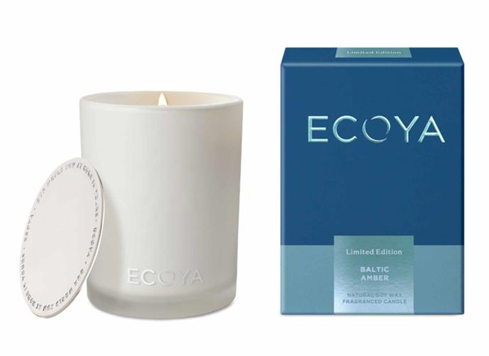 "**Baltic Amber Madison Candle, $44.95, [Ecoya](https://www.ecoya.com.au/collections/limited-edition/products/baltic-amber-madison-jar|target=""_blank""