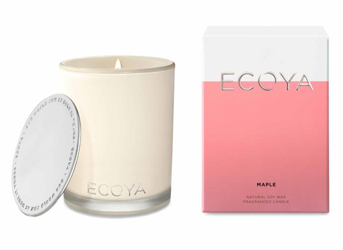 "**Maple Madison Candle, $42.95, [Ecoya](https://www.ecoya.com.au/collections/maple/products/maple-madison-jar|target=""_blank""