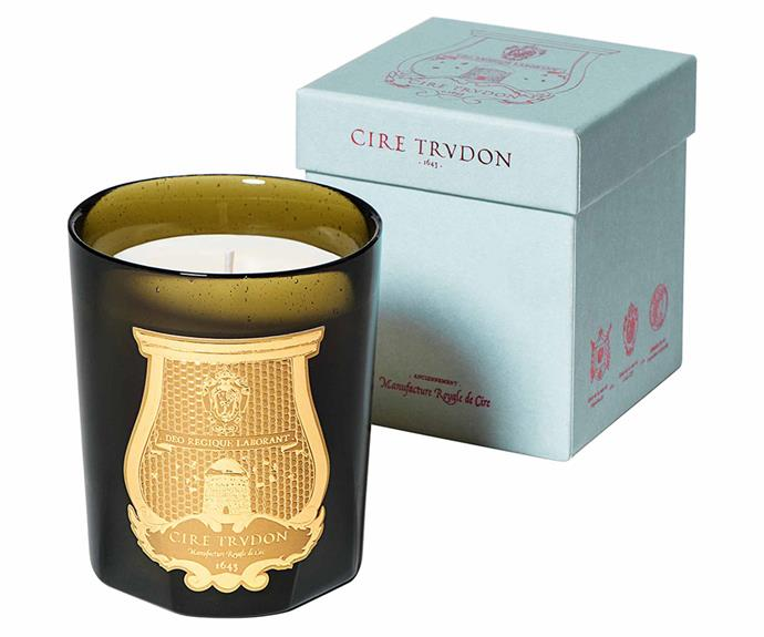 """**Trudon Gabriel Candle, $129, [Libertine Parfumerie](https://www.libertineparfumerie.com.au/products/cire-trudon-gabriel-candle?_pos=1&_sid=76e91c194&_ss=r target=""""_blank"""" rel=""""nofollow"""")**.<br><br>Founded in 1643, Maison de Cire Trudon was quickly established as one of the premier chandleries in France, and even now their candles proudly bear the emblem of King Louis XIV. Each Trudon candle is housed in an artisanal glass vessel handcrafted in Italy. Gabriel is an intimate fragrance that features a base of musk and cedarwood paired with fresh moss and glace chestnut, resulting in a woody scent."""