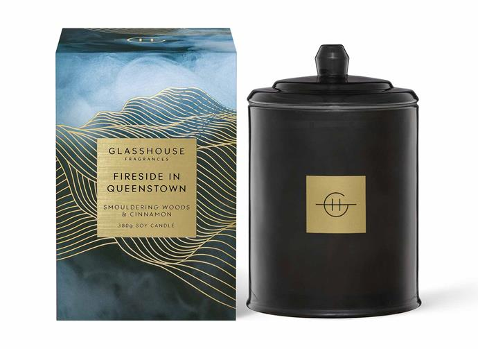 "**Fireside in Queenstown, $54.95, [Glasshouse Fragrances](https://www.glasshousefragrances.com/collections/home-fragrance-candles/products/380g-candle-fireside-in-queenstown?variant=32526670790740|target=""_blank""