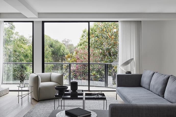 B&B Italia 'Charles' sofa, Space Furniture. Moroso 'Shanghai Tip' side table', Hub Furniture. Flos 'Taccia' lamp, Euroluce.
