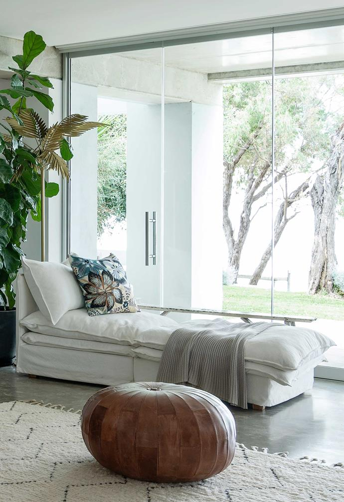**Living area** Capitalising on beautiful natural views was a must, and this relaxed linen daybed is the perfect place to lounge.