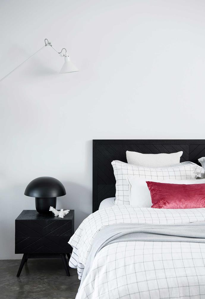 """**Main bedroom** Tapestry bed and Mushroom lamp, also [Empire](https://www.empirehomewares.com.au/