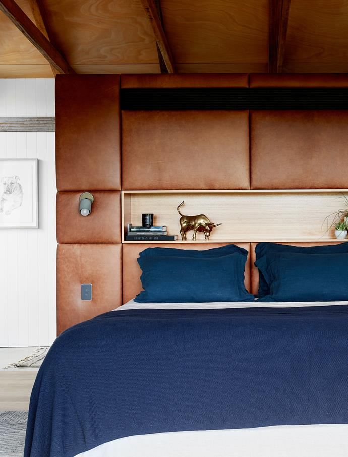 Highland leather bedhead in Rowan, Instyle. Marz Designs 'Terra 1 Short Articulating' wall light and Bemboka bedlinen, The Design Hunter. Sketch of Tim's dog Biscuit by Emma Morgan.