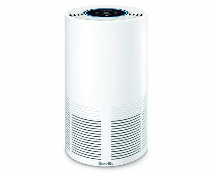 """**Breville LAP300WHT the Smart Air Purifier, $323, [Appliances Online](https://www.appliancesonline.com.au/product/breville-lap300wht-the-smart-air-purifier?sli_sku_jump=1 target=""""_blank"""" rel=""""nofollow"""")**.<br><br>More compact than other models, Breville's Smart Air Purifier can purify the air in medium-sized room of up to 40 metres squared. The purifier features a SensAir Live Purity Control up top, and coloured lights readily display the quality of air in the room. The cylindrical design also allows for 360°s of air purification, with cleverly placed inlets and outlets."""