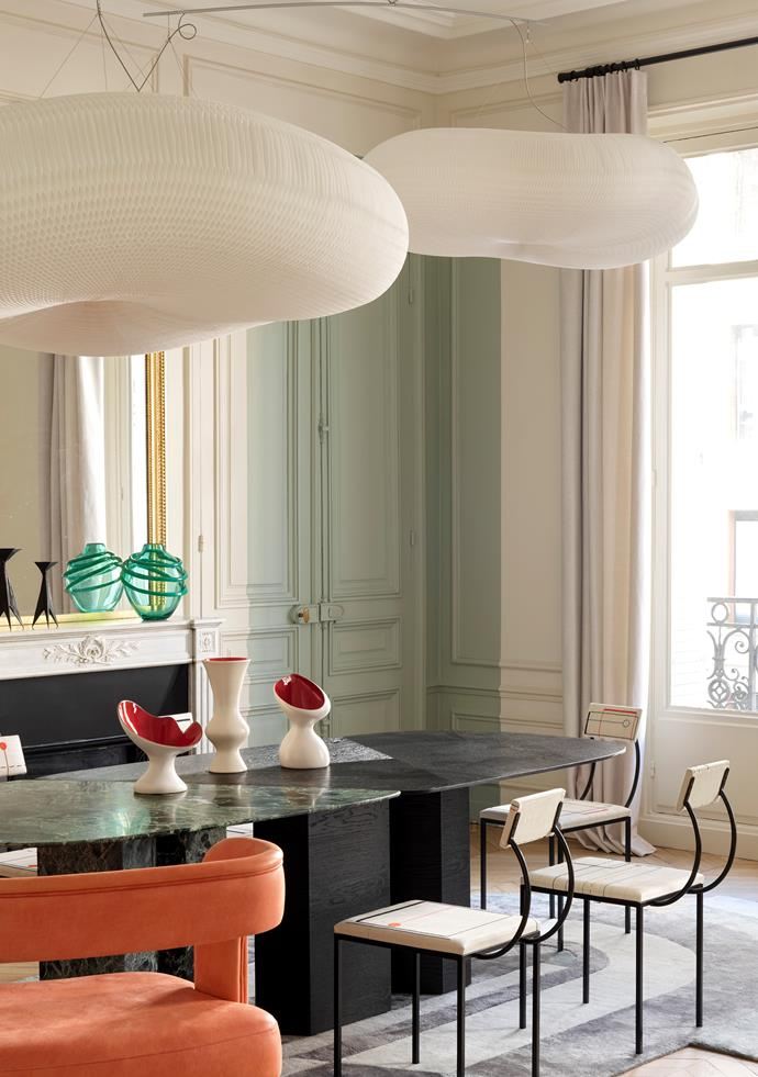 Molo's 'Cloud Softlight' mobile pendant light floats in the interiors of this Paris apartment which was decorated with wit and whimsy by designers Le Berre Vevaud.