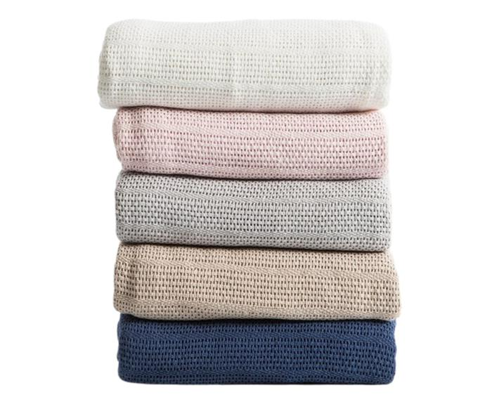 """**[245gsm cotton cellular blanket, $39 (Double), Pillow Talk](https://www.pillowtalk.com.au/245gsm-cotton-cellular-blanket-essbccbl17