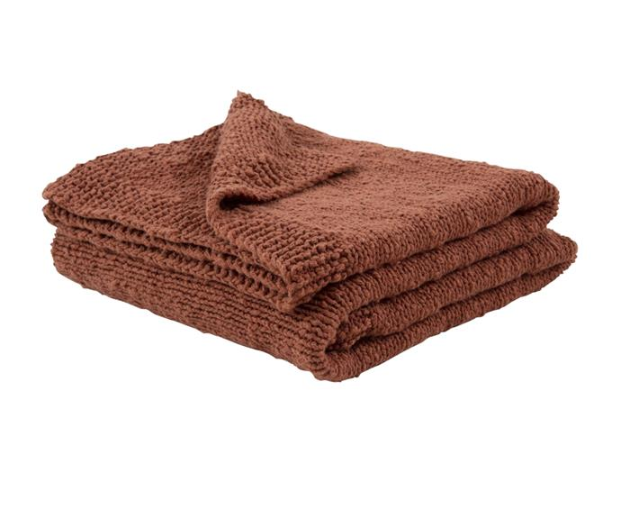 """**[Cocoon Throw in cinnamon, $71.99, Wallace Cotton](https://www.wallacecotton.com/au/cocoon-throw-7713-cinnamon