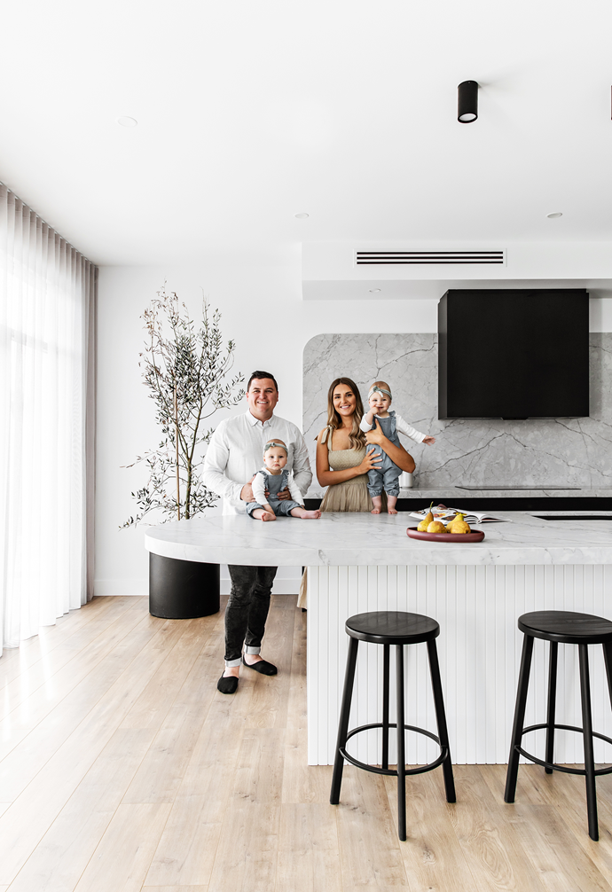 """""""I'm not a chef but I do enjoy cooking,"""" says Veronica, pictured above with her husband Mark and their one-year-old twins, Mila and Willow. """"I find myself in the kitchen more than ever before, cooking for two little babies. It's also a great space for entertaining – we have the family gather around the [island bench](https://www.homestolove.com.au/15-game-changing-kitchen-islands-for-your-renovation-13253 target=""""_blank""""), and if a girlfriend comes over she can pull up a bar stool and we open a bottle of wine."""""""
