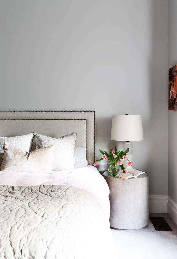 """Elegant and comfortable, Andrew and MJ's bedroom in their [heritage Sydney abode](https://www.homestolove.com.au/heritage-family-home-sydney-21847