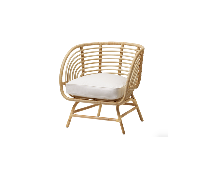 """**BUSKBO Armchair, rattan Djupvik in white, $229, [Ikea](https://www.ikea.com/au/en/p/buskbo-armchair-rattan-djupvik-white-s39299018/