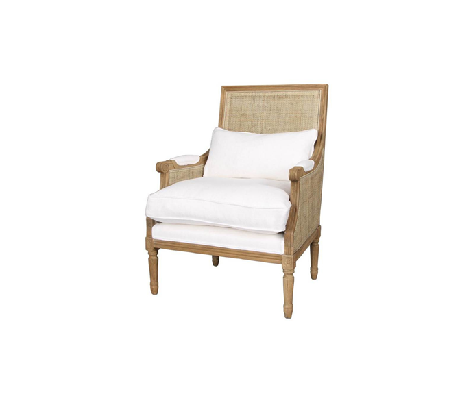"""**Pierre Rattan Armchair in white, $1,740, [Interiors Online](https://interiorsonline.com.au/products/pierre-caned-armchair-white