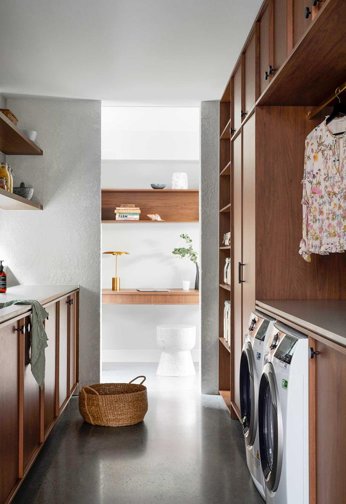 """**Pantry/laundry** In a clever use of space, these zones were combined and a desk nook added at one end. Appliances, [AEG](https://www.aegaustralia.com.au/ target=""""_blank"""" rel=""""nofollow""""). Basket, [Kmart](https://www.kmart.com.au/ target=""""_blank"""" rel=""""nofollow""""). Terrazzo hourglass stump, [Fenton & Fenton](https://www.fentonandfenton.com.au/ target=""""_blank"""" rel=""""nofollow"""")."""